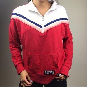 Colorful quarter zip sweater